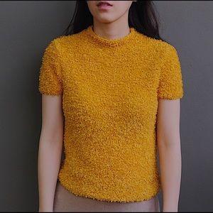 Zara fuzzy yellow summer top